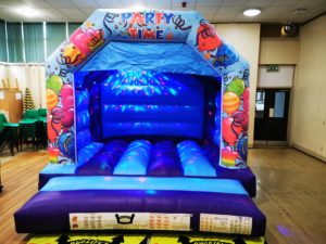 Blue Party Time Bouncy Castle