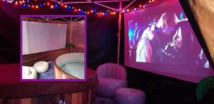 hot tub with cinema screen